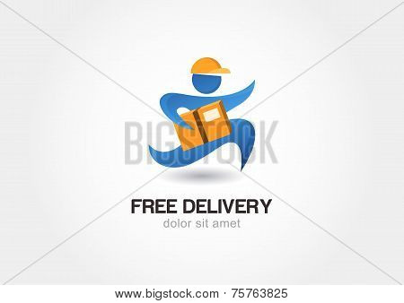 Running Man With Postal Box. Courier With Parcel. Delivery Themes Vector Logo Design Template