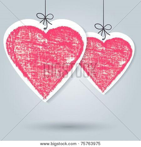 Pencil Hand-drawn Sketch Heart, Vector Background Template