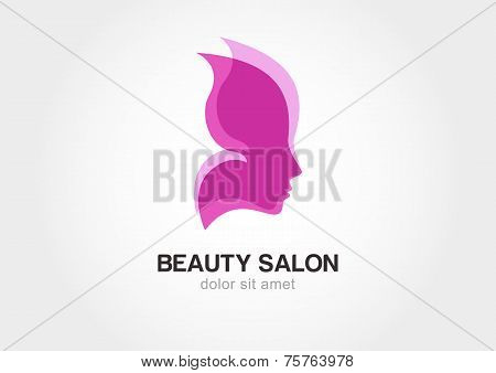 Woman's Face In Butterfly Wings. Abstract Design Concept For Beauty Salon. Vector Logo Template