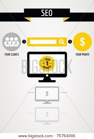 Abstract Design Concept Of Seo Process. Vector Illustration
