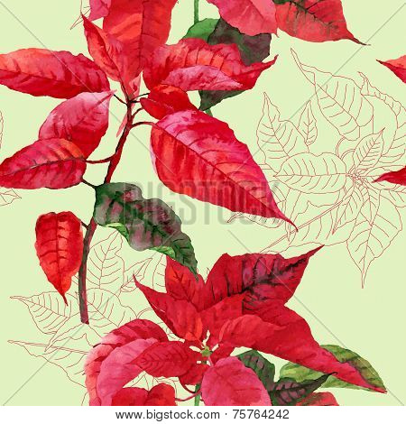 Seamless pattern  with poinsettia plant-04