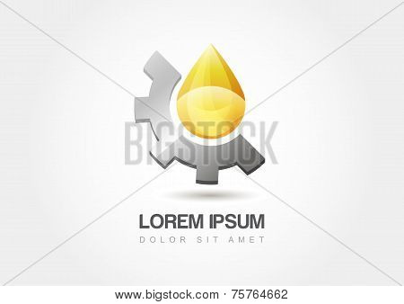 Yellow Oil Industry Drop Symbol With Gears Cogs. Vector Illustration Logo Template
