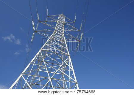 Power line in Zaragoza province, Aragon, Spain