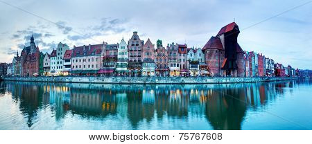 Panorama of Gdansk old town and Motlawa river, Poland. Also known as Danzig and the city of amber.