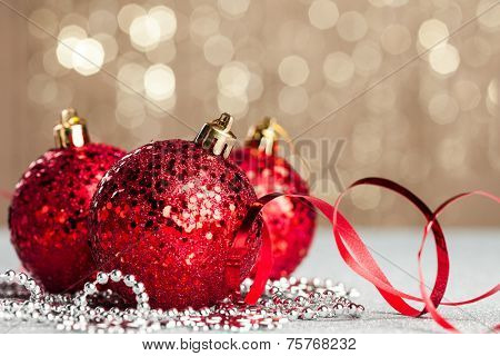 Christmas ball on shiny background