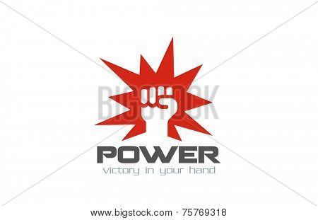 Fist Logo design vector template. Hand hit power strength logotype. Martial Arts concept icon. Revolution symbol.