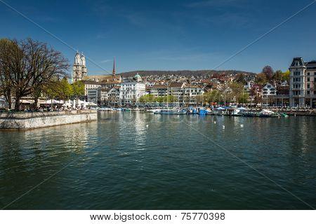 Beautiful view of Zurich and river Limmat, Switzerland