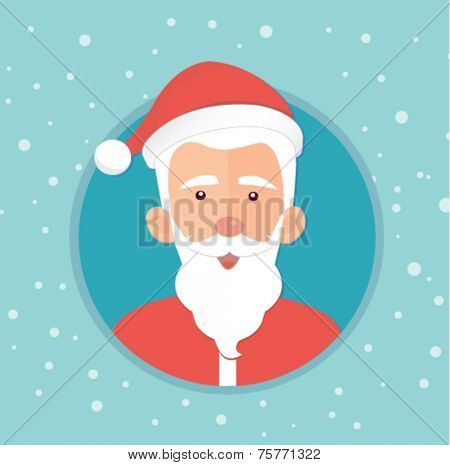 christmas card with santa claus - flat design vector