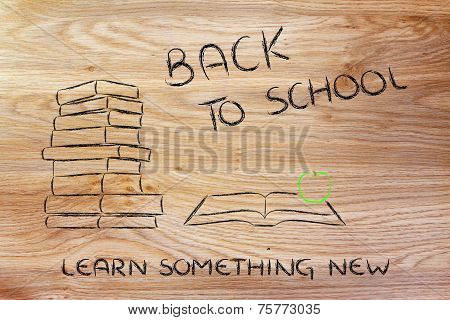 Back To School: Pile Of Books, Open Book And Apple