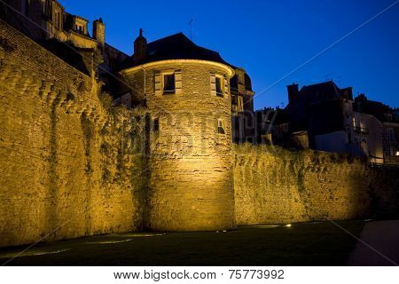 the historic city of Vannes at nigth, in Brittany, France