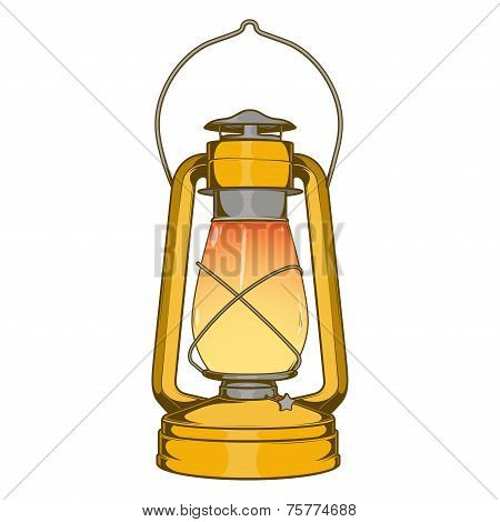 Antique Brass Old Kerosene Lamp Isolated On A White Background. Colored Line Art. Retro Design. Vect