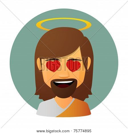 Jesus Vector Avatar With Hearts In Hi Eyes