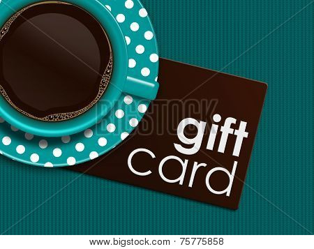 Coffee With Gift Card Lying On Tablecloth