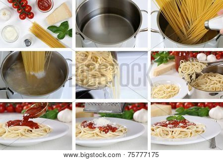 Cooking Spaghetti Noodles Pasta With Tomato Sauce: Step By Step Instruction