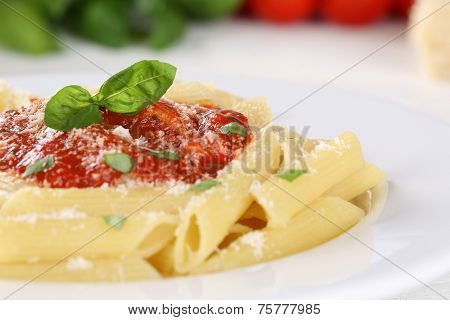 Pasta  Rigate Napoli With Tomato Sauce Noodles Meal With Basil