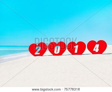 Four Hearts With Caption 2014 On Tropical Beach