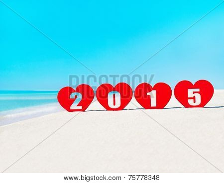 Four Hearts With Caption 2015 On Tropical Beach