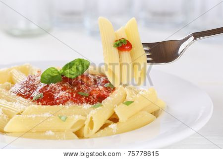 Eating Pasta Rigate Napoli With Tomato Sauce Noodles On Fork