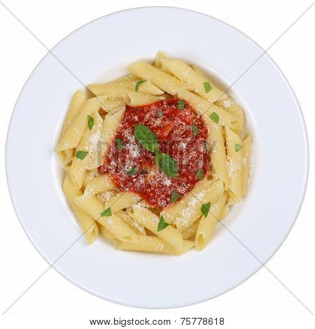 Penne Rigate Napoli With Tomato Sauce Noodles Pasta Meal Isolated