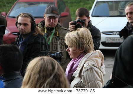 Candidate For Mayor Of Khimki Opposition Leader Evgeniya Chirikova Speaks With Reporters