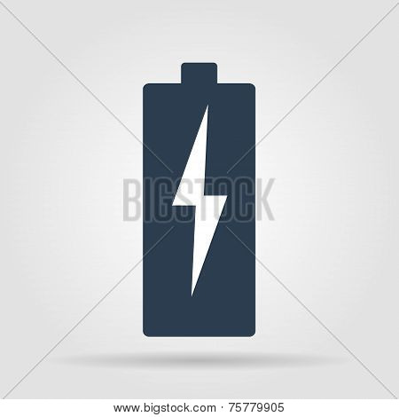 Illustration Of Flat Battery Sign Vector Charging Energy Symbol Background.