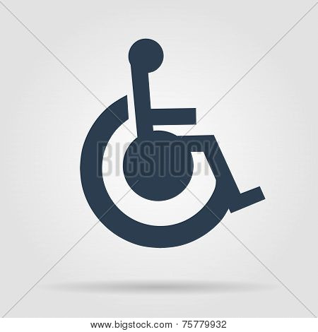 Cripple Flat Black Simple Icon , Isolated On White Background
