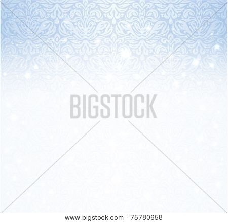 Shiny blue winter vintage christmas card background