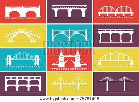 Modern Bridge Icons on Colorful Background Designs