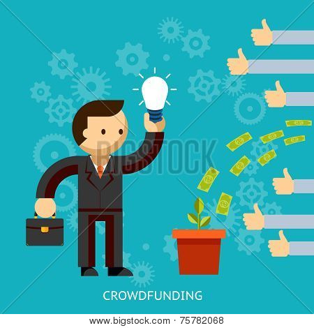 Businessman with a great idea being crowd funded