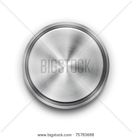 Vector silver metal textured button