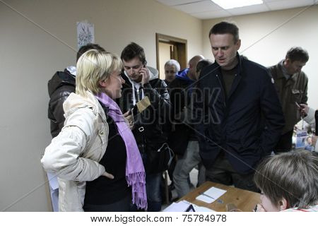 The politician Alexei Navalny in a staff of the oppositional candidate Evgenia Chirikova