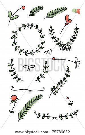 Set of floral hand drawn doodles