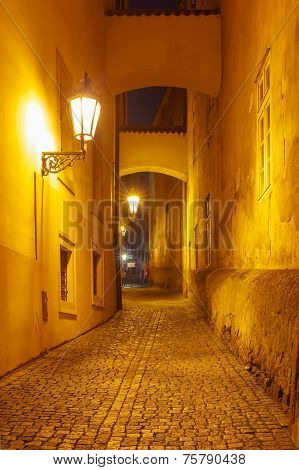 Night Street In Mala Strana, Prague, Czech Republic