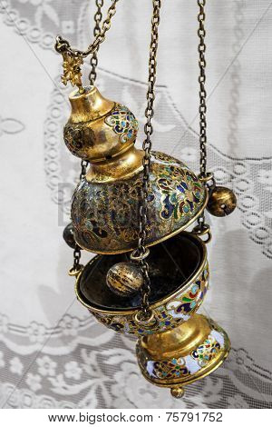 beautiful old censer close up