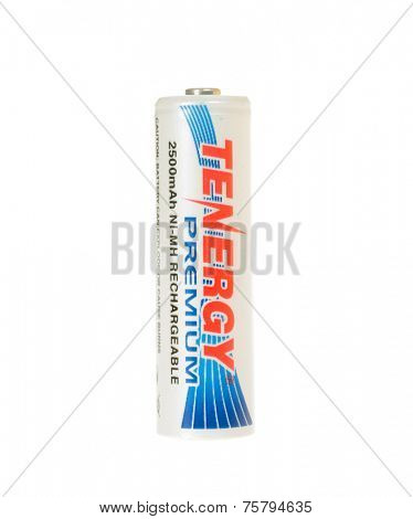 Hayward, CA - November 9, 2014: Tenergy Brand 2500mAh NI-MH rechargeable AA battery