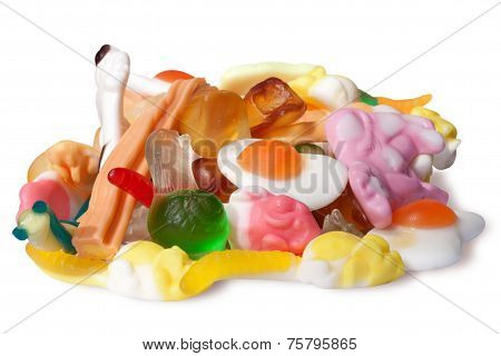 multicolor jelly on a white