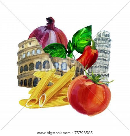 Italian watercolor set. Coliseum. Pisa Tower. Pasta ingredient.