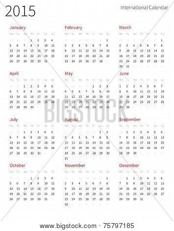 European 2015 year vector calendar.