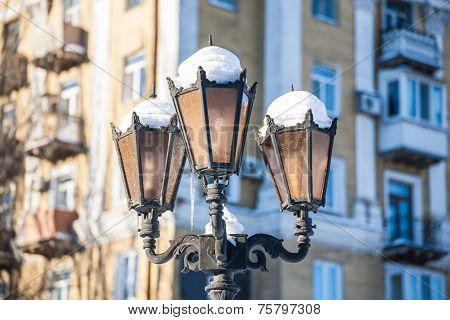 Antique frosty lamppost