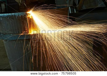 weld spatter of melting metal at industrial factory