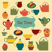 stock photo of tea party  - Background of Tea Time Tea cups pots and of Cupcakes Dessert - JPG