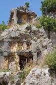 picture of rock carving  - Lycian rock cut tombs carved into the hillside of Myra Turkey - JPG