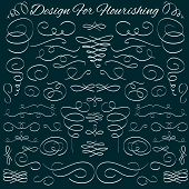 image of dash  - Set of vector vintage calligraphic design elements and page decoration - JPG