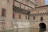 picture of ferrara  - Castle of Ferrara in the Emilia-Romagna Italy ** Note: Soft Focus at 100%, best at smaller sizes - JPG