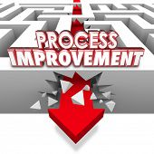 pic of greater  - Process Improvement 3d words on an arrow breaking through maze walls to illustrate changing procedures for greater efficiency - JPG