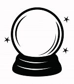 stock photo of sorcerer  - vector black crystal ball icon on white - JPG