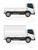 stock photo of moving van  - small truck for transportation cargo vector illustration isolated on white background - JPG