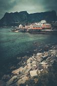 image of reining  - Traditional wooden houses in Reine village - JPG