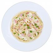picture of carbonara  - Spaghetti Carbonara noodles pasta meal on a plate isolated on a white background - JPG