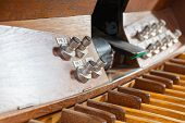 picture of pipe organ  - Wooden Keyboard and pedal organ close up - JPG